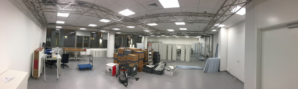 Pile of boxes in the new lab.